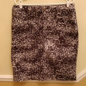 Coldwater Creek Leopard Print Jeans Skirt in grey